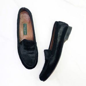 Cole Haan Black Calf Hair Slip On Loafer Size 10